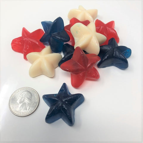 Patriotic Gummi Stars 2 pounds red white blue candy
