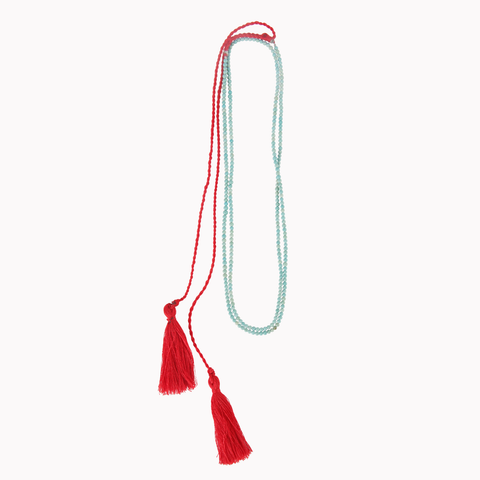 Tassel necklace, Beads jewellery, Turquoise, Red, Tassels, Boho style, Tassel jewellery