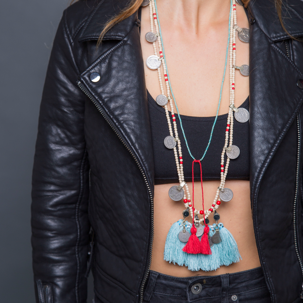Tassel necklace, Beads jewellery, Turquoise, Red, Tassels, Gypsy soul, Tassel jewellery, Hippie chic