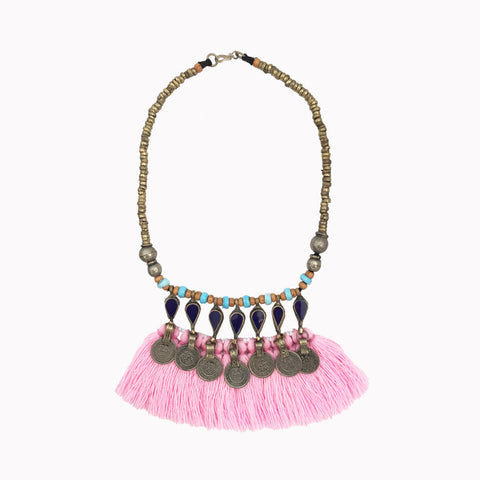 Fringe necklace, Statement jewellery, Big necklace, Pink necklace, Ethnic style