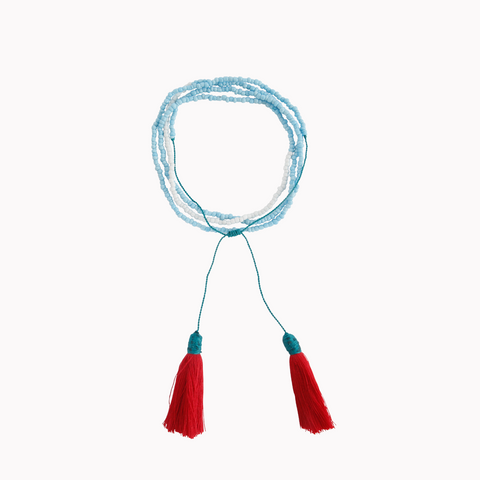 Tassel necklace, Beaded jewellery, Turquoise, Red, Tassels, Bohemian style, Tassel jewellery, Tassel Charm