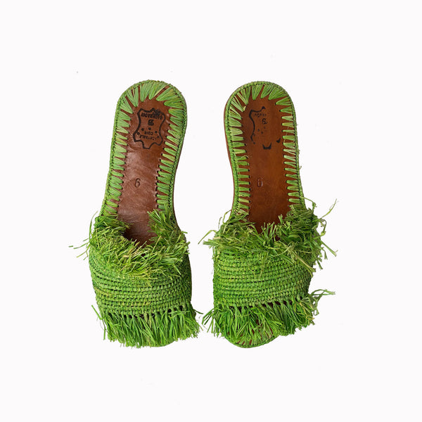 Slide shoes, Raffia flats, Summer Sandels, Green sandels, Raffia sandels, Summer slides, Beach outfite, Resort Style, Women sandels