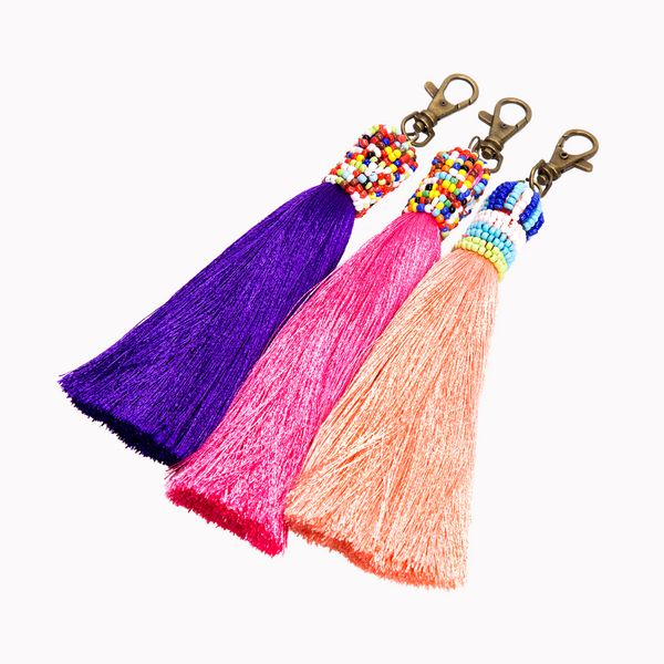 Tassel key chain, bag decoration, Boho accessories, Tassel holder, Boho key chain