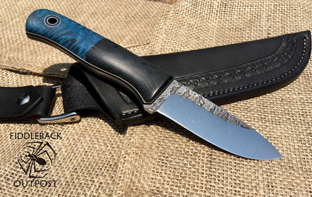 Fiddleback Forge Dyed Mango Bushcraft Jr. with Black Pouch Sheath