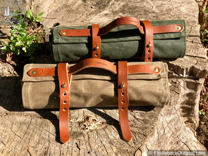 Badger Claw Leatherworks - 6 Pocket Knife Roll - Waxed Canvas & Leather - Fiddleback Outpost
