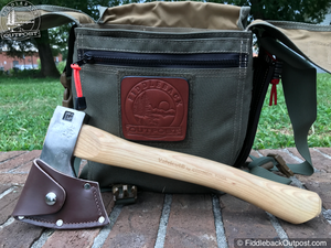 "Council Tool - 14"" Velvicut® 1.25# Premium Hudson Bay Belt Hatchet - w/ Leather Mask - Fiddleback Outpost"