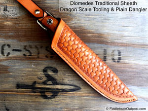 "Diomedes Industries - The Traditional - Leather Sheath for 3"" to 3.5"" Blades - CUSTOM - Fiddleback Outpost"