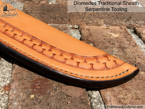 "Diomedes Industries - The Traditional - Leather Sheath for 4"" Blades - CUSTOM - Fiddleback Outpost"