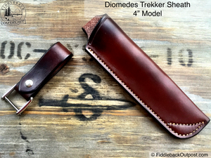 "Diomedes Industries - Trekker - Leather Sheath - 4"" Blades - CUSTOM - Fiddleback Outpost"