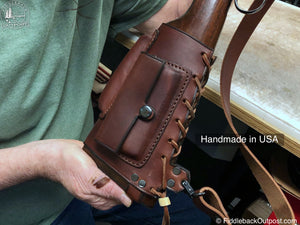 Rifle Butt Stock Cover With Integrated Sling - RLO Custom Leather - Fiddleback Outpost