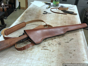 RLO Custom Leather - Leather Rifle Scabbard - Double Shoulder Straps