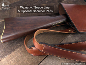 Leather Rifle Scabbard - Double Shoulder Straps - RLO Custom Leather - Fiddleback Outpost