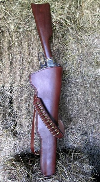 Leather Rifle Scabbard - Double Shoulder Straps