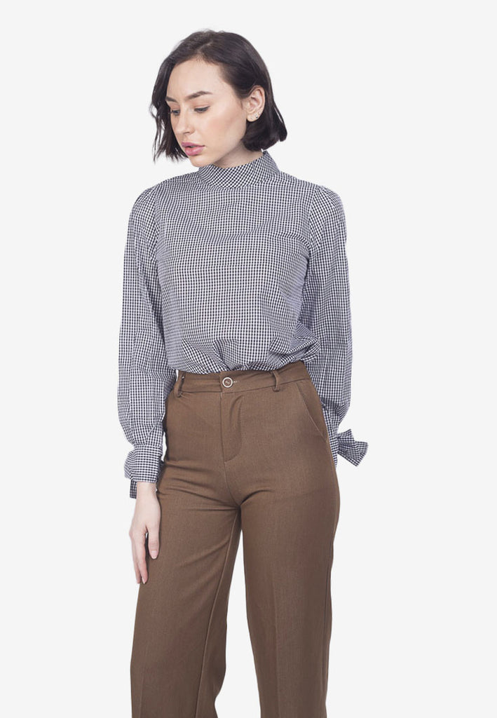 Mock Neck Blouse with Sleeve Detail