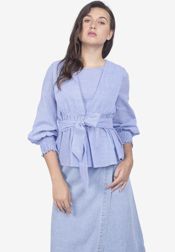 Bow-Waist Top with Gathered Sleeves