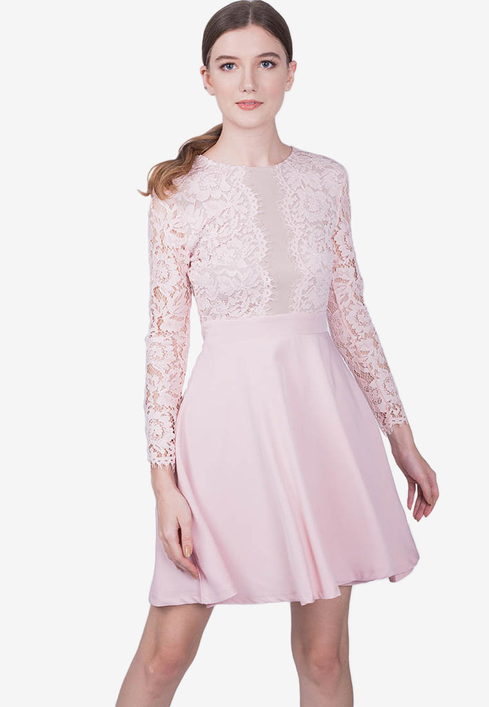 Lace Panel Flowy Dress