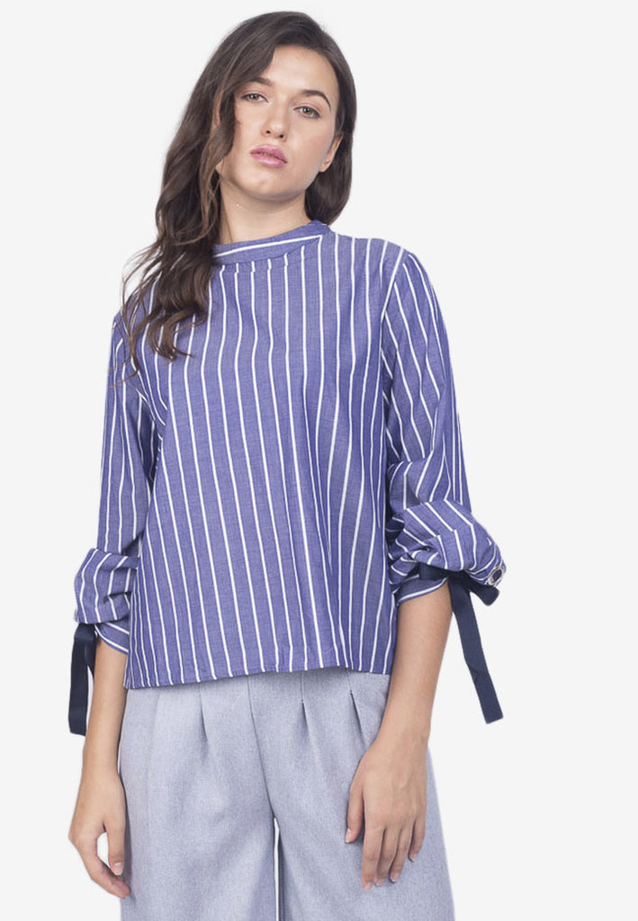 Striped Blouse with Sleeve Detail