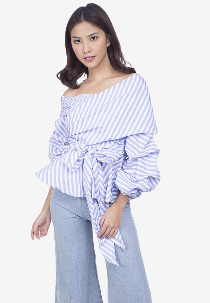Striped One-Shoulder Tie Top