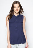Sleeveless Blouse with Front Top Button