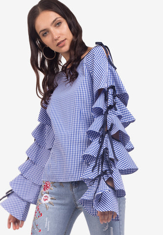 Gingham Ribbon Sleeves Top