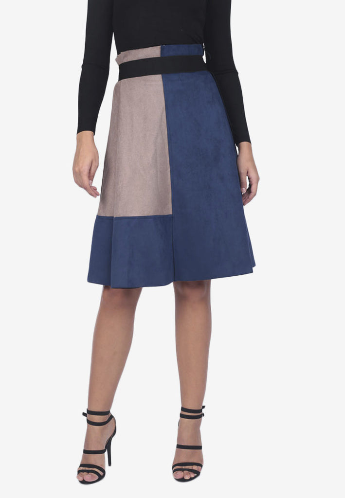 Two-Toned Suede Skirt