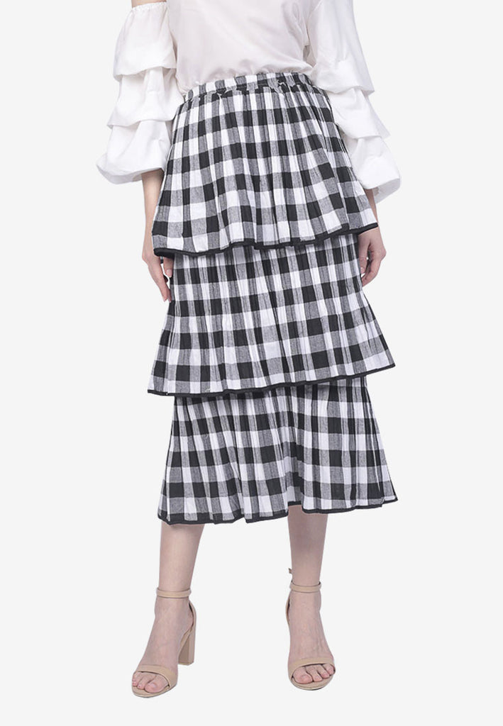 Tiered Checkered Skirt