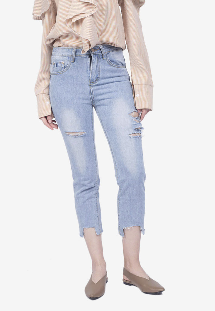 Cropped Cutout Jeans