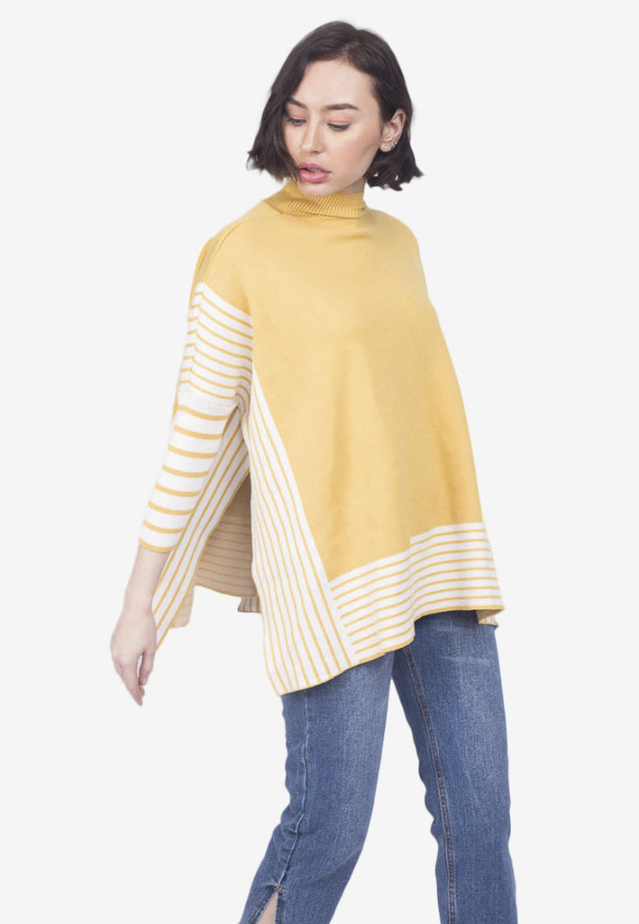 Turtleneck Handkerchief Poncho