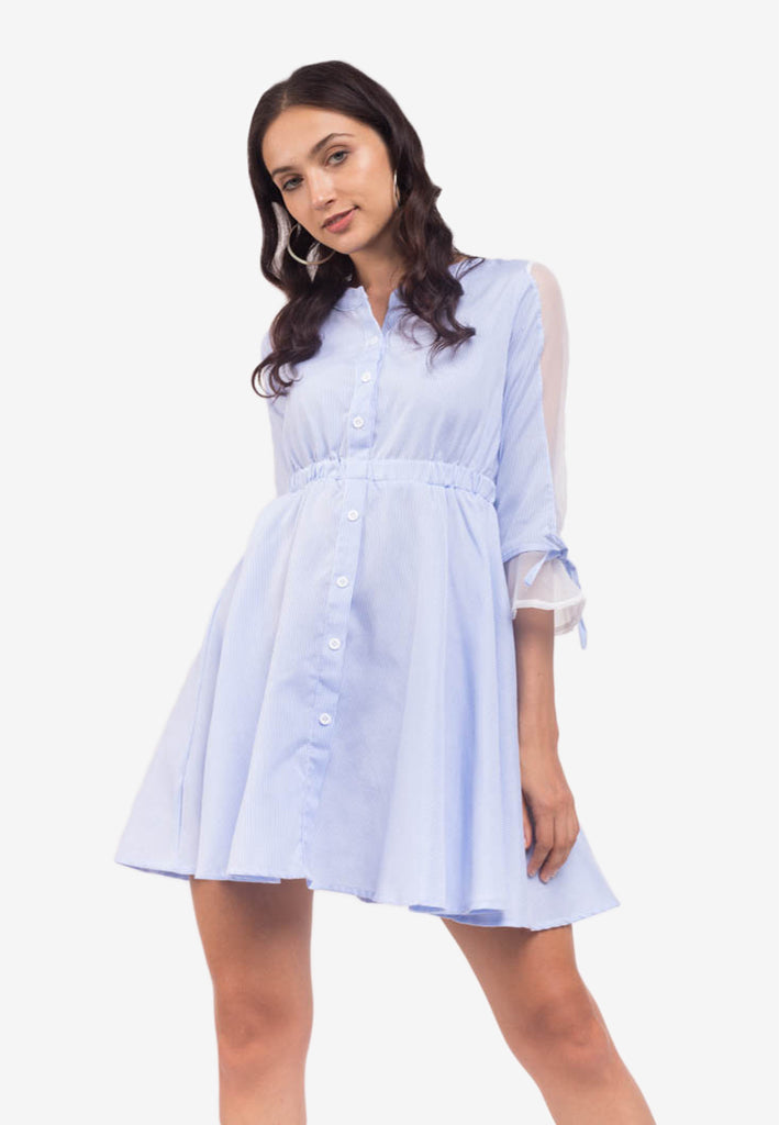 Shirt Dress with Sheer Sleeves
