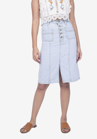 Button Down Light Denim Skirt