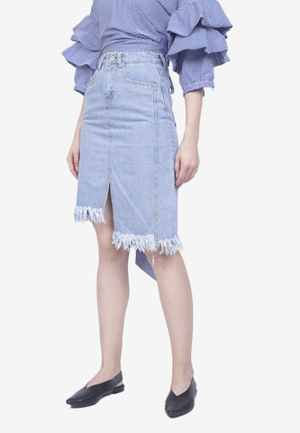 Asymmetrical Frayed Skirt