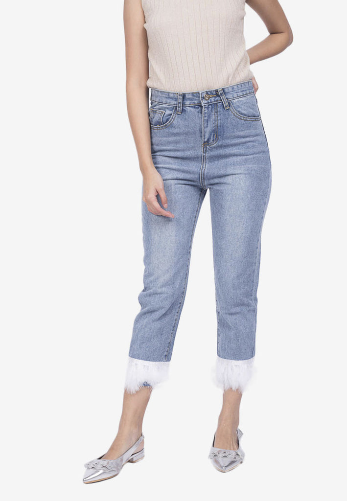 Feather Hem Jeans