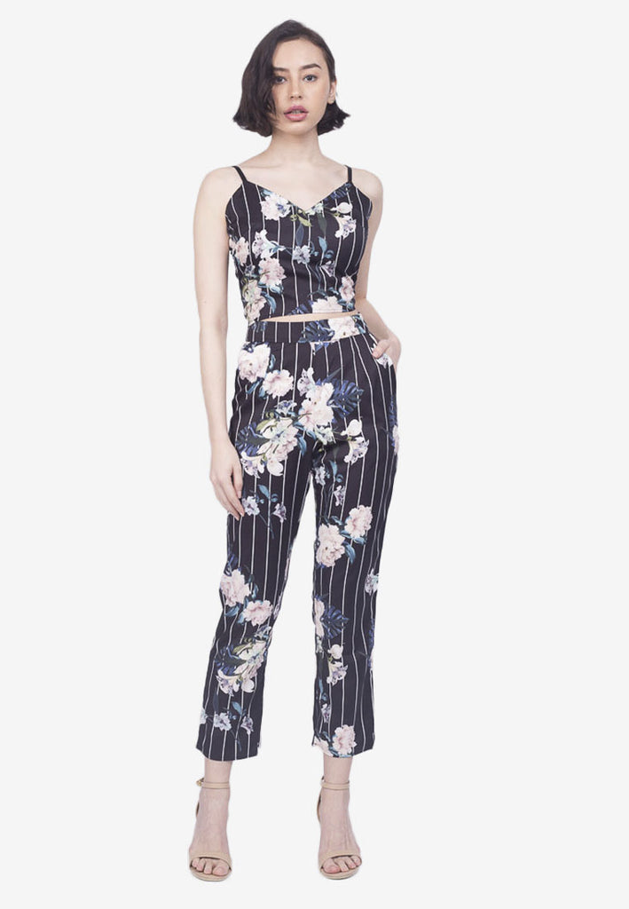 Printed Crop Top and Pants Set