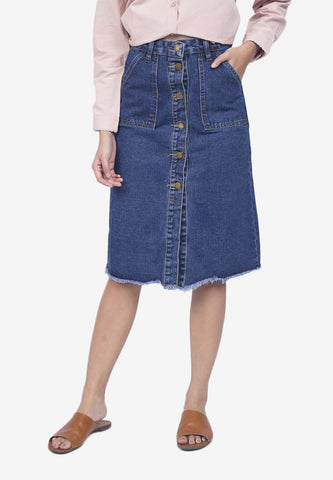 Denim Button-Down Skirt