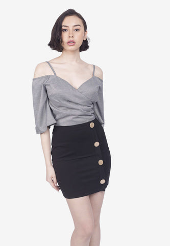Cold-Shoulder Top and Mini Skirt Set