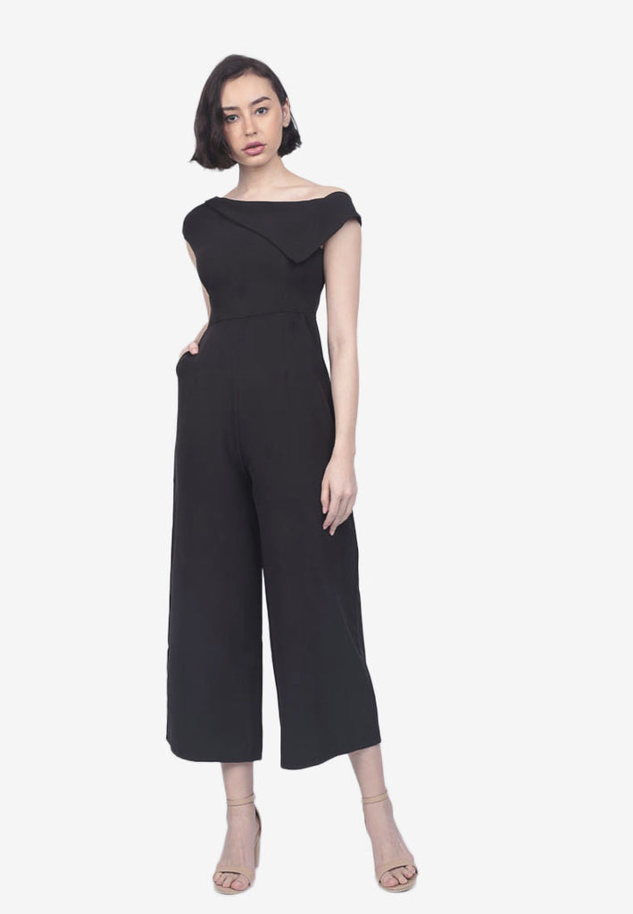 Cropped One-Shoulder Jumpsuit
