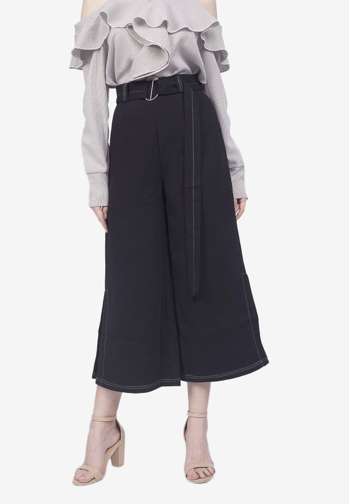 Side Slit Cropped Pants