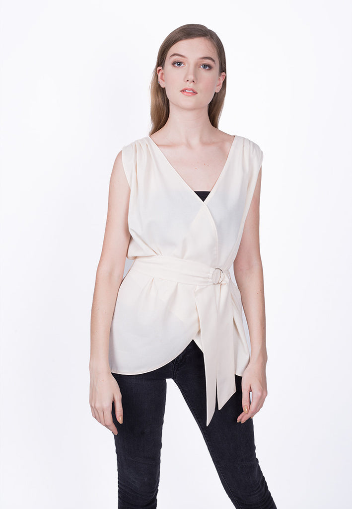 Sleveless Belted Top