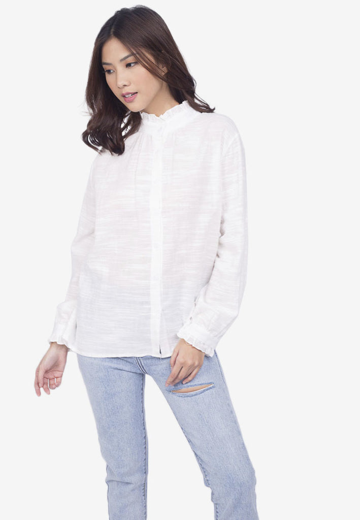 Ruffled Neck Button Down Blouse