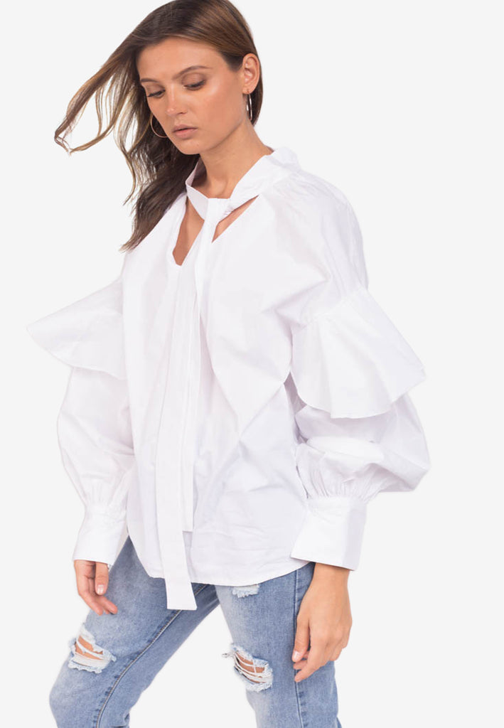 Blouse with Oversized Sleeves