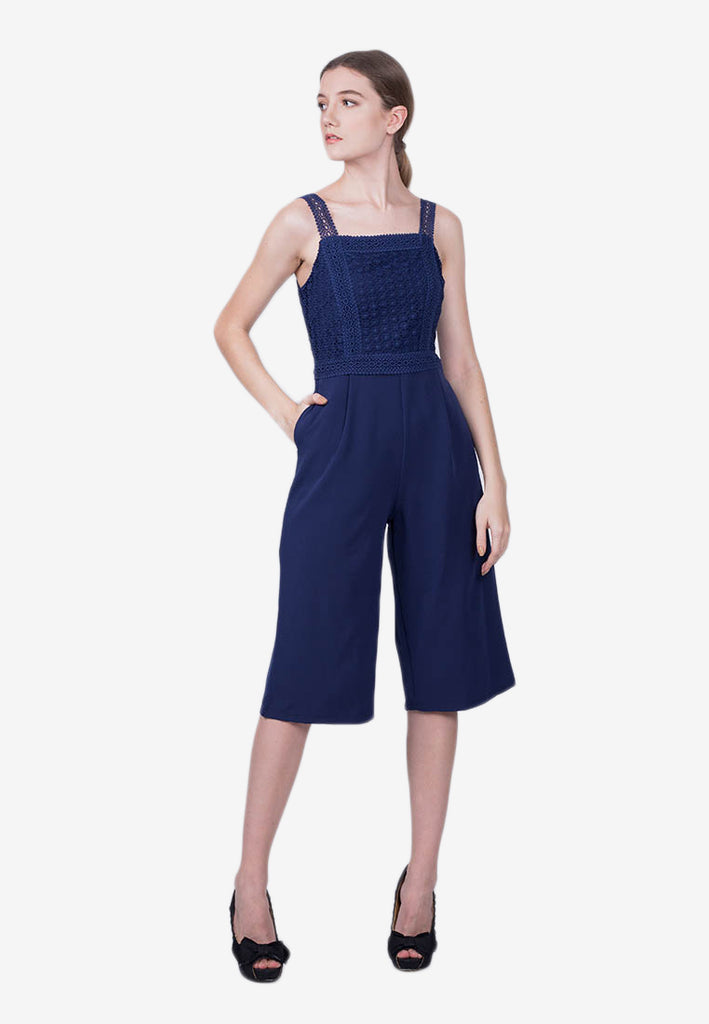 Knee-Length Laced Jumpsuit
