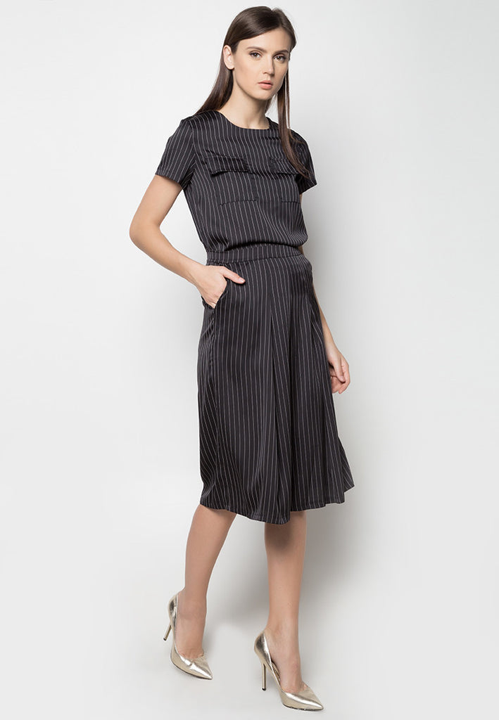Pinstripe Top and Culottes Set - Caoros - 2