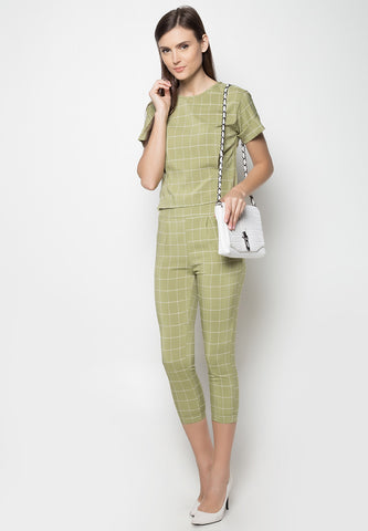 Checkered Top and Pants Set - Caoros - 1