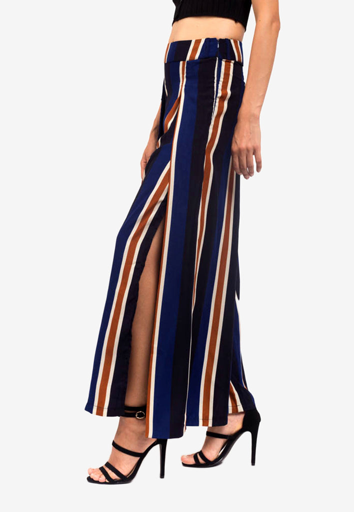 Striped Trousers with Slit