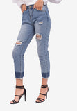High-Waisted Frayed Hem Jeans
