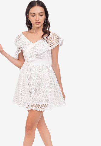 Lace Frill Mini Dress