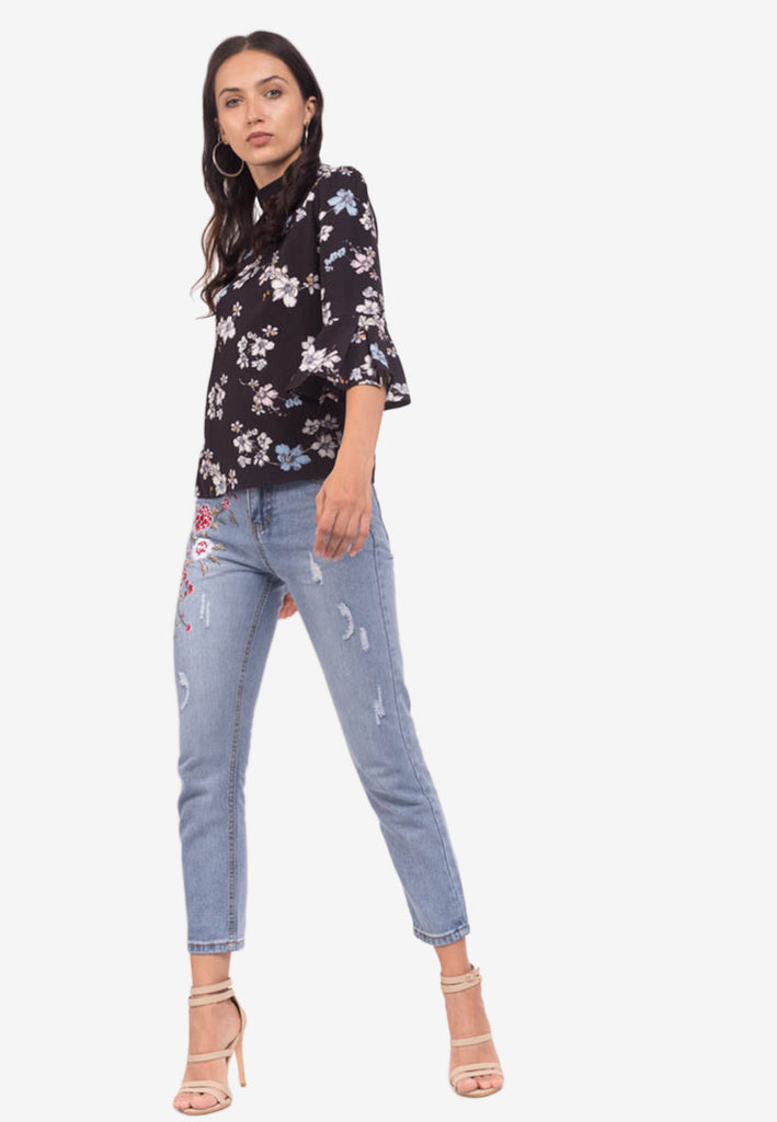 Mock Neck Floral Top