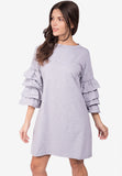 Frilled Sleeves Shirt Dress
