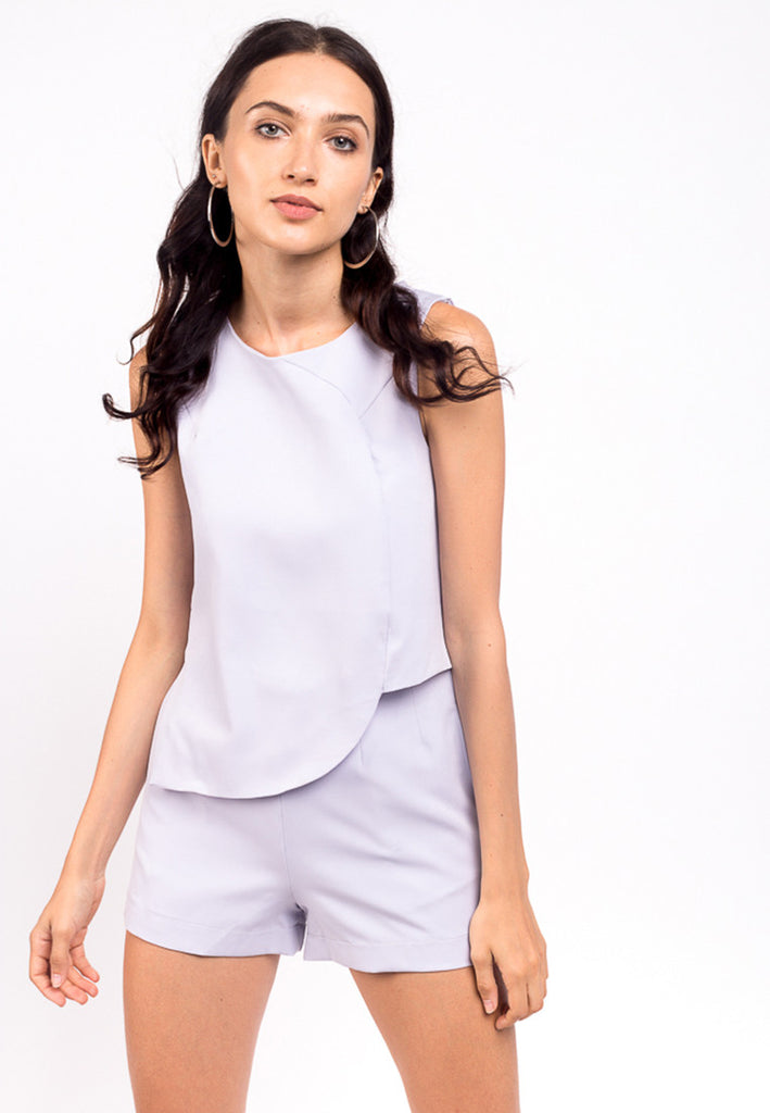 Asymmetrical Top and Shorts Set