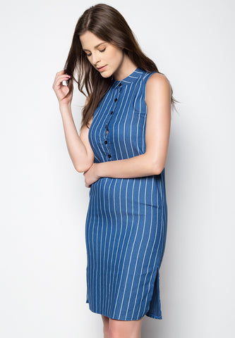Chambray Striped Dress - Caoros - 1